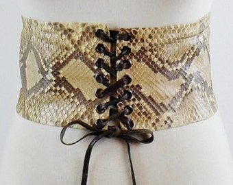 Vintage YVES SAINT LAURENT 70s Wide Snake Skin Corset Belt With Leather Ties Size Small /Med