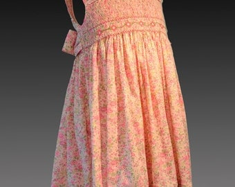 Award Winning Hand Smocked Dress-Liberty of London Tana Lawn-Pink Floral-Size 3/4