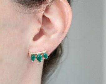 Gemstone Wing Stud Earrings - Labradorite - Moonstone - Aqua - Tourmaline - Green Onyx - Rutilated Quartz