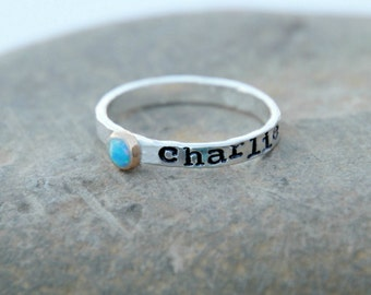 HAND STAMPED BIRTHSTONE Ring - October Hand Stamped stacking Gemstone Ring - Personalized, Fine silver, pink gold rings - kids name rings