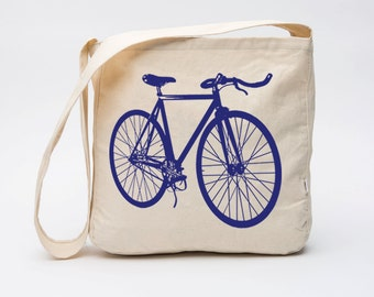 Organic Cotton Fixie Bicycle Market Bag, Famers Market Tote Bag