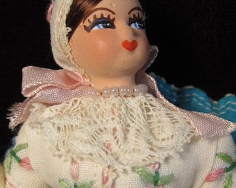 Vintage Paper Mache Doll and Cloth Czech Miniature Maiden on Swing - Fine