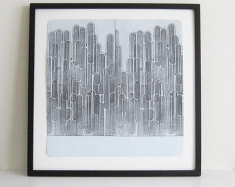 "Etching Print .  Black + Pale Blue Home Decor: ""Serial 4"". Large Print Size 20"" x 20"""