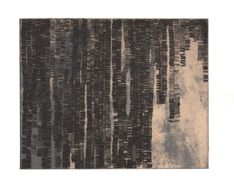 """Art Print . Fine Art Etching . Black, White +Tan. Abstract Landscape: """"Either/ Or 2"""". Print Size 11"""" x 13"""". unframed"""