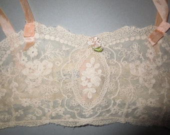 1920's Formfit Brassiere  / Lace with Back Hooks / Ribbon Straps...size 34