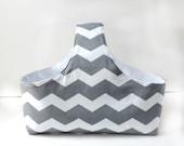 Fabric Storage Basket - Diaper Caddy -  Gray Diaper Storage - Chevron Diaper Caddy -  Gray Chevron Fabric Basket - Nursery Decor
