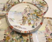 SALE Antique Nippon Porcelain Plates - Royal Kaga - 5 Plates with Geisha Girl Scene - Hand Painted / Gold Enameling / Beaded
