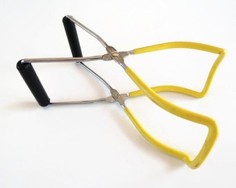 Jar Tongs Lifter Yellow Rubberized Vintage Kitchen Canning Home Food Processing Supply