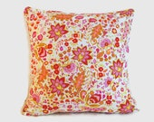 White orange magenta pink floral decorative pillow covers. One cover for 20x20 pillow insert. Shabby Chic cottage decor sofa pillow colorful