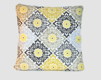 Yellow and and gray geometric decorative pillow cushion covers. 1 cover for 18x18 insert. Classic sofa cushion throw pillow toss pillow