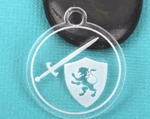10 SWORD and SHIELD Charms, Clear Acrylic Circle, laser cut engraved acrylic, you choose size, Lca0424