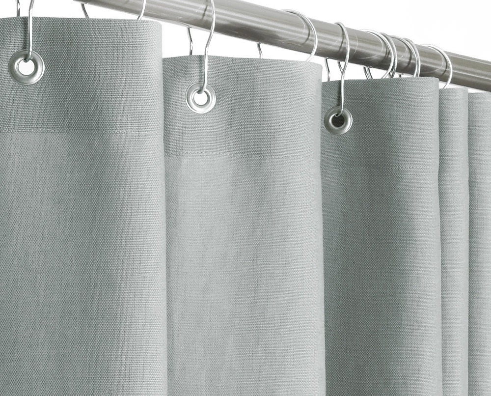 Gray Linen Shower Curtain EXTRA LONG 72 Wide X 72 By PondLilly