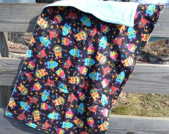 "Security Blanket - Baby Lovey - Robot Print - 20"" x 40"" Flannel and Super Plush Fabric - Blankie"