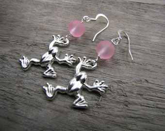 Frog earrings sea glass earrings beach glass silver sea creature frog charm