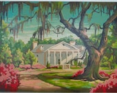 Vintage Paint By Number Southern Home Plantation Antebellum Mid Century Cottage Decor