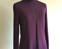 30% THANKSGIVING SALE Vintage Aubergine Sweater - 70s Castleberry Knit Sweater - Size Medium