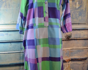 vintage Catherine Ogust for Penthouse Gallery 1960s graphic cotton color block shift shirt dress S