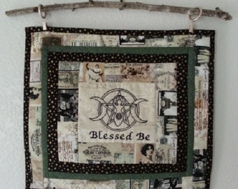 Blessed Be Wallhanging, Altar piece, Wiccan, Goddess, Pentacle