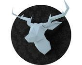 ON SALE / SOLDES Light Blue Foldeer - Deer Head Papertoy
