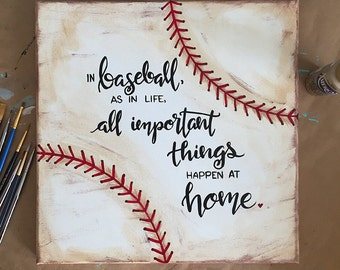 Vintage Baseball-Inspired Quote on Canvas