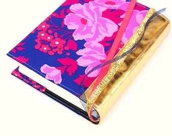 IN STOCK Bible Cover - Book Sleeve - E.S.V. Journaling Bible SINGLE Column - Jewel Tone Floral with Metallic Gold Spine
