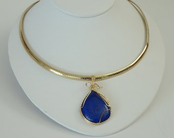 Lapis Lazuli Wire Wrapped Pendant on 18 Inch Omega
