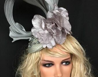 Silver Wedding hat with beautiful grey flowers decorative beading sinamay swirl Wedding Races