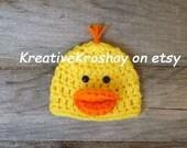 Rubber Duckie / Duck Hat - (Newborn-3mo/3-6mo/6-12mo sizes)