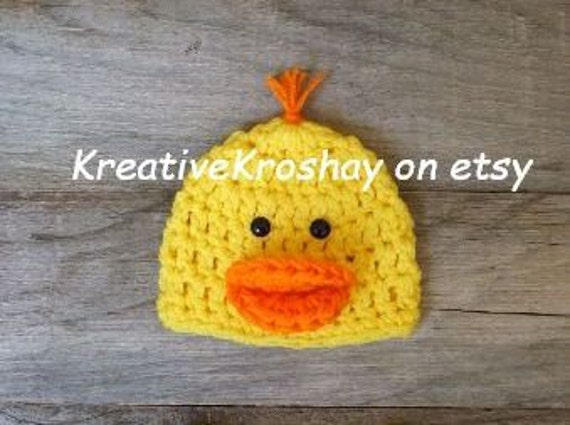 Rubber Duckie / Duck Hat - (Newborn-3mo/3-6mo/6-12mo sizes)