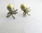 Brass Octopus Stud Earrings