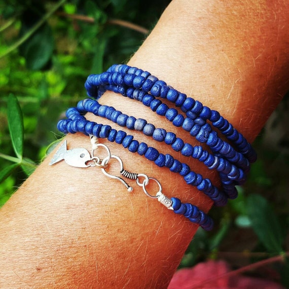 UNDER da SEA Wrap Bracelet by MOONDROPS /// Sapphire blue coconut shell beads /// Sterling Silver