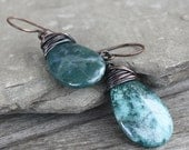 Blue Green Impression Jasper Earrings - Oxidized Copper Wire Wrapped earrings, gemstone earrings, rustic earrings, boho earrings