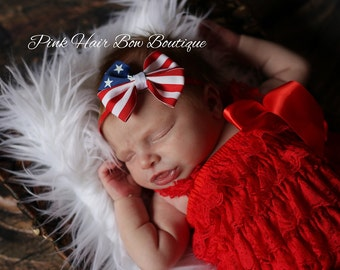 First 4th of July baby hair bow headband Stars and Stripes