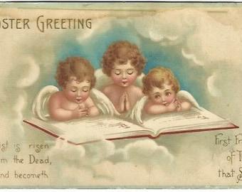 Little Cherubs Reading Bible Vintage Postcard Easter Greeting