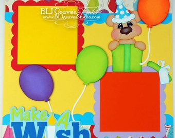 2 Premade Scrapbook Pages Girl Boy Birthday Party Make A Wish 12x12 Layout Paper Piecing Handmade 61