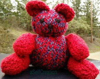 Loomed Teddy Bear - Purple and Red
