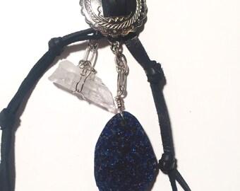 Druzy + Quartz Leather Necklace // Jewelry