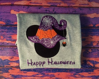 Halloween Witch Mouse head personalized applique Plus Size shirt