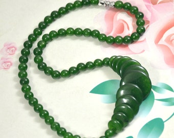 """Coin Olive Jade Strand, Round green jade 6mm-20mm charm bead Loose One strands 16"""""""