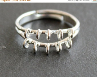 CLEARANCE Beaded Ring Finding with Loops - Silver Plated - Adjustable - DIY Supplies - Jewelry Making - (1 Ring)