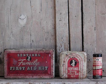 Vintage Sentinel First Aid Box Kit Collection, Bandage Tins, Bathroom Decor