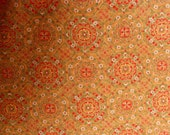MEDALLION FLORAL  Vintage Japanese Kimono silk fabric  Geometric Floral Coffee n Cream Red Green White  14.5 x 72 inches