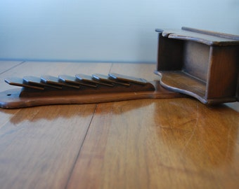 vintage wooden wall mail slot holder  - 1960's  - Colonial Style - Americana - Farmhouse
