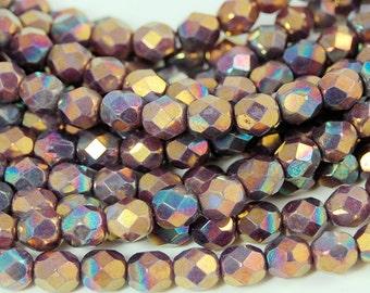 Oxidized Bronze Tanzanite Purple Crystal Czech Glass Bead 6mm Round - 25 Pc