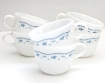 Sale vintage morning blue milk glass pyrex/corning ware set of 6 coffee tea cups