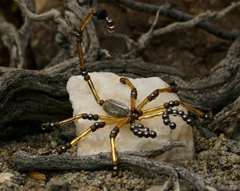 Beaded scorpion, scorpion, beaded bug, yellow and gray scorpion, decorative