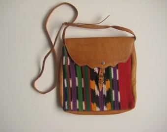 Vintage Crossbody Bag / Tribal Print Fabric / Boho Bag