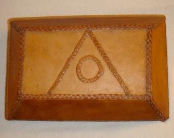 Vintage Leather On Wood Lidded Box