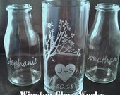 Wedding Sand Unity  Set - Rustic Personalized for the Bride and Groom -  Custom Etched Glass