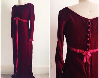 Vintage 1960s Crushed Velvet Gown in Burgundy / 60s Red Velvet Dress / Size Small